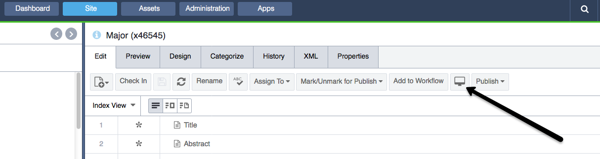 Image of the secondary option to preview a page in Ingeniux under the designer toolbar.