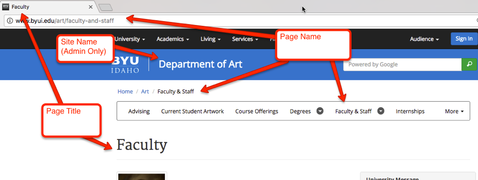 Screenshot of a webpage on byui.edu showing where site name, abstract, and title appear
