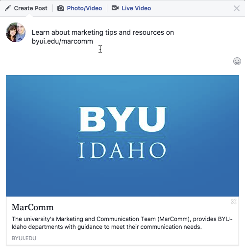 Screen shot of how Facebook shows byui.edu/marcomm when it is shared.