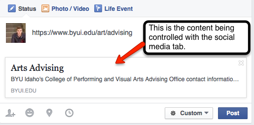 Screenshot of Facebook share of a webpage on byui.edu