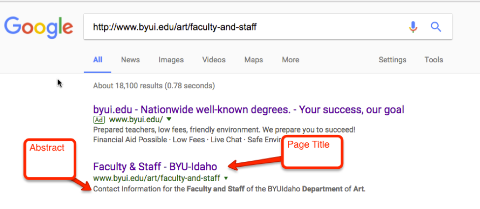 Screenshot of a Google search and how abstracts appear for a byui.edu webpage