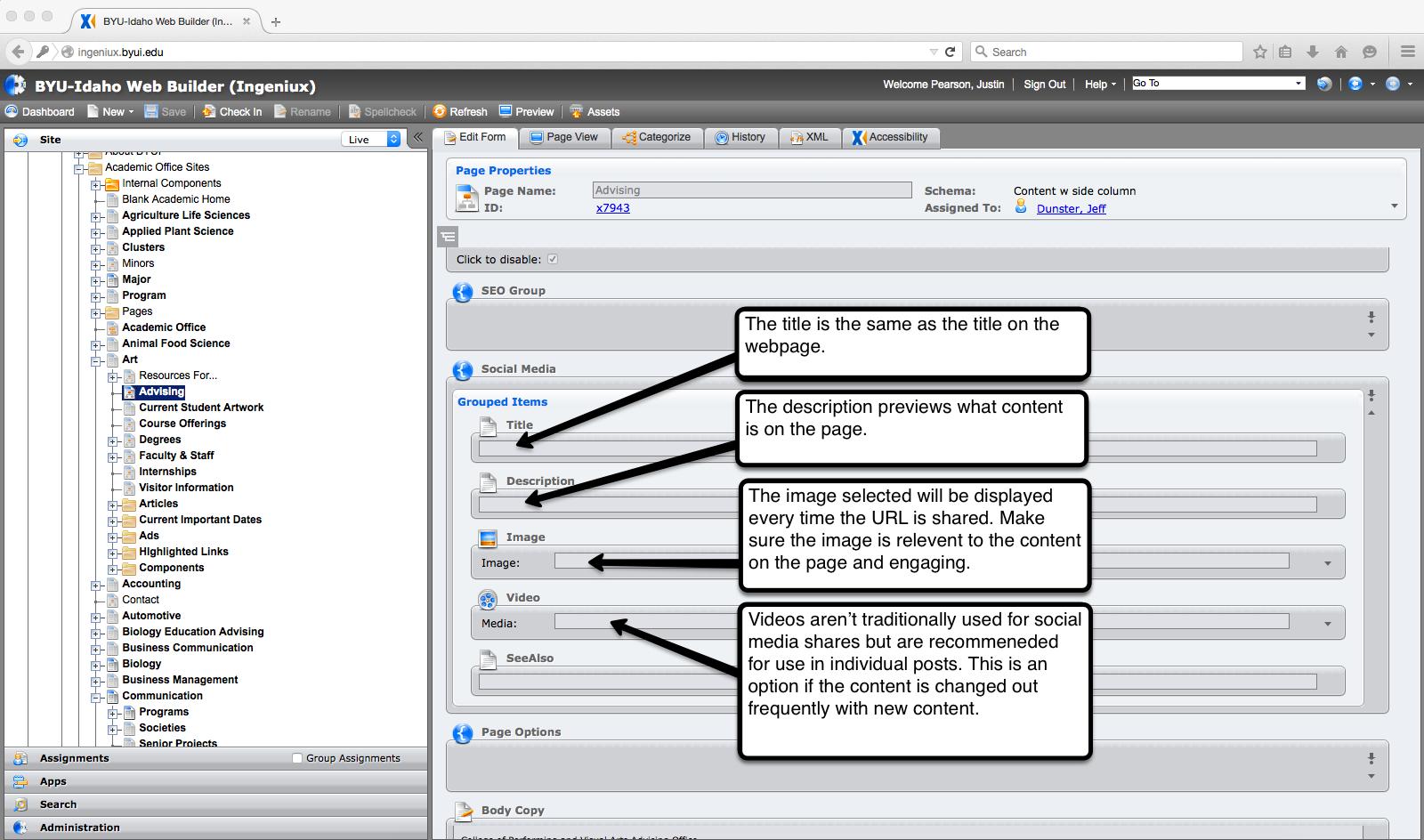 Screenshot of Ingeniux