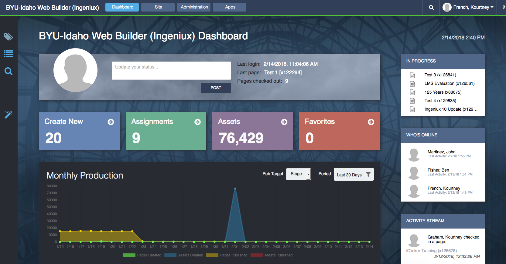 Image of the Ingeniux dashboard screen for the BYU-Idaho website.