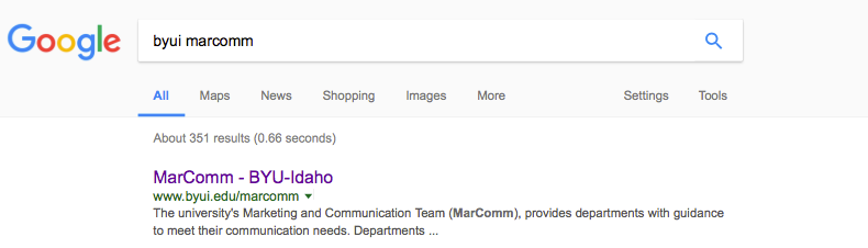 Image of what it looks like when people search for byui marcomm on Google.