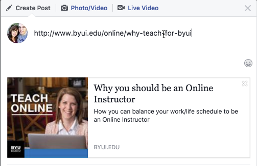 Image of Facebook sharing the site byui.edu/online/why-teach-online